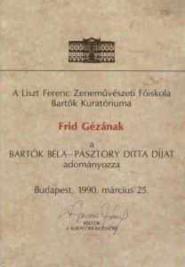 Béla Bartók prijs 1990