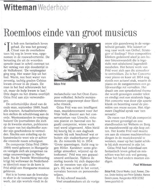 Witteman in Volkskrant dd. 8 april '06