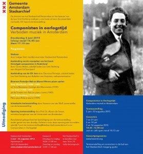 Brochure Vervolgde componisten, Stadsarchief Amsterdam 2015