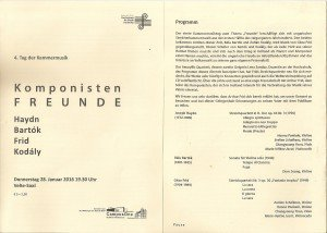 Concert programma Musikhochschule Karlsruhe deel 1 (28 januari 2016)
