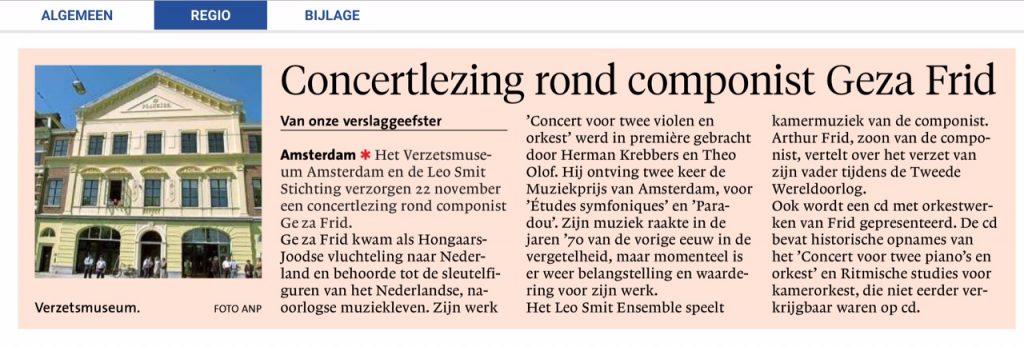 2018-11-20 Aankondiging Frid concert in Noordhollands Dagblad