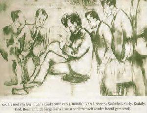 1922 – Karikatuur van J. Hanák: Zoltán Kodály met leerlingen (Uit Frids autobiografie)